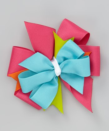 Pink & Lime Bow Clip