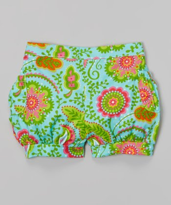 Pink & Lime Floral Bubble Shorts - Toddler & Girls