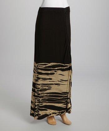 American Buddha by Yogi Black Abstract Maxi Skirt