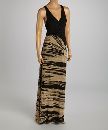 American Buddha by Yogi Black Abstract Maxi Dress