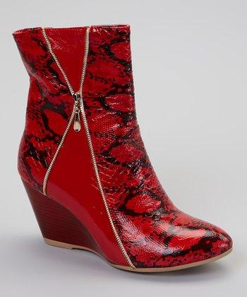 Ann Creek Ltd. Orange Snakeskin Arum Boot
