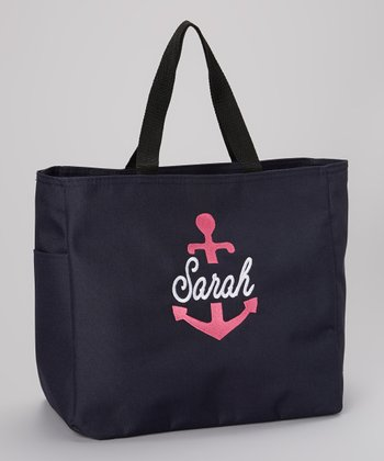 Sew Girlie Navy Anchor Personalized Tote