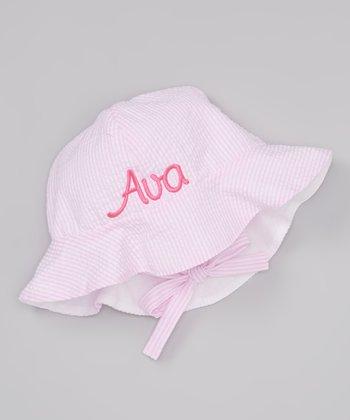 Sew Girlie Light Pink Seersucker Personalized Sun Hat