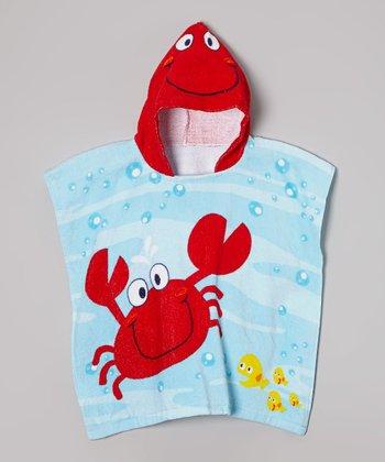Vitamins Baby Blue & Red Crab Hooded Towel