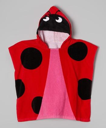 Vitamins Baby Black & Red Ladybug Hooded Towel