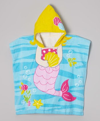 Vitamins Baby Yellow & Blue Mermaid Hooded Towel