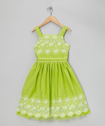 Lime Green Eyelet Daisy Dress - Girls' Plus