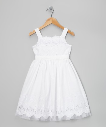 White Eyelet Daisy Dress - Girls' Plus