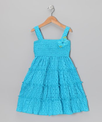 Blue Polka Dot Tiered Dress - Girls' Plus