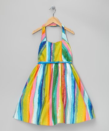 Rainbow Sequin Stripe Dress - Girls' Plus
