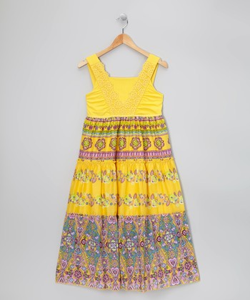 Yellow Crocheted Dress - Girls' Plus