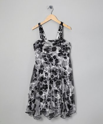 Black & White Floral Handkerchief Dress - Girls' Plus