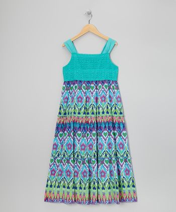 Turquoise Sparkle Crocheted Dress - Girls' Plus