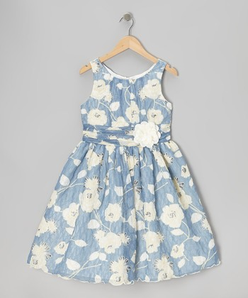 Blue & White Daisy Dizzy Dress - Girls