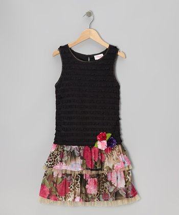 Black & Pink Floral Drop-Waist Dress - Girls