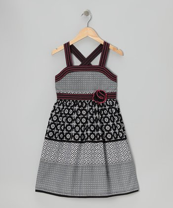 Black & Pink Picnic Dress - Girls