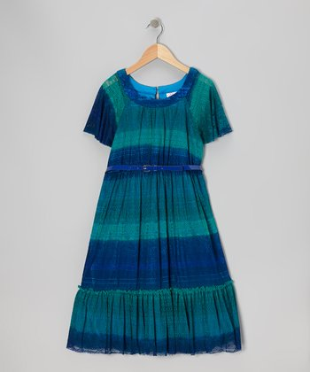 Blue Dip-Dye Dress - Girls' Plus