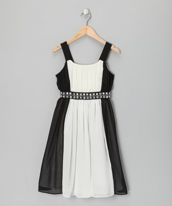 Black & White Rhinestone Occasion Dress - Girls' Plus