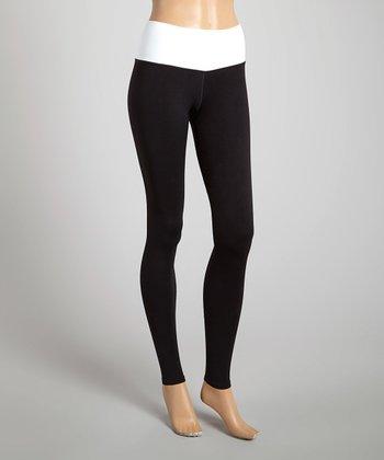 Black & White Wide-Waistband Ankle Leggings
