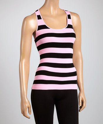 Pink & Black Stripe Racerback Tank