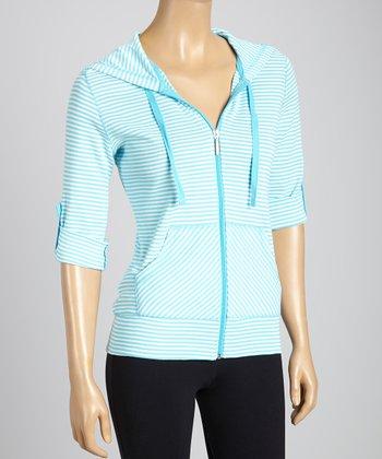 Silverwear Light Blue & White Stripe Zip-Up Hoodie