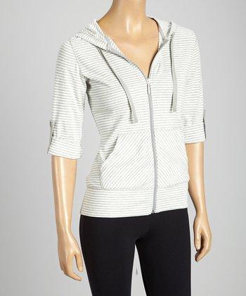Silverwear Gray & White Stripe Zip-Up Hoodie