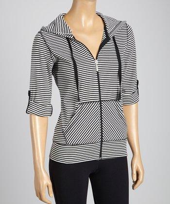 Silverwear Black Stripe Zip-Up Hoodie