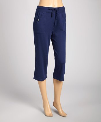 Silverwear Navy Drawstring Capri Pants