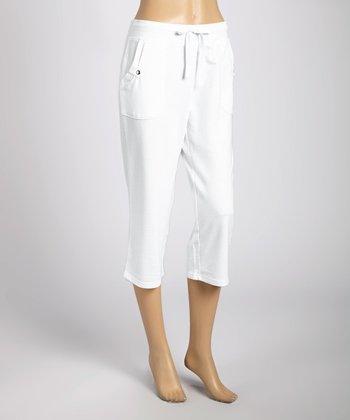 Silverwear White Drawstring Capri Pants