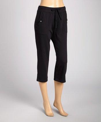 Silverwear Black Drawstring Capri Pants
