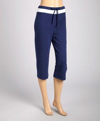 Silverwear Navy & White Drawstring Capri Pants