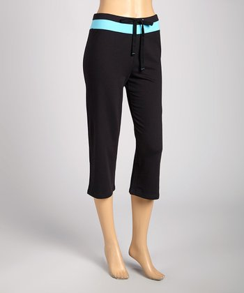 Silverwear Black & Teal Drawstring Capri Pants