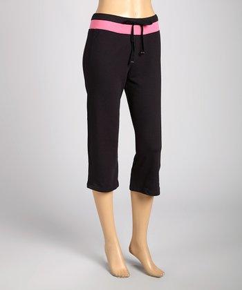 Silverwear Black & Pink Drawstring Capri Pants