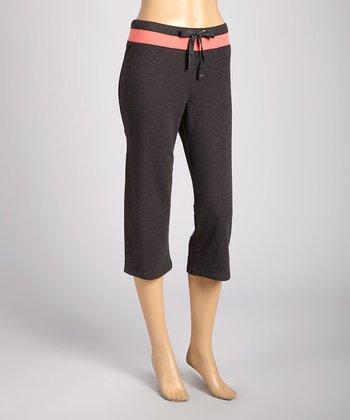 Silverwear Charcoal & Pink Drawstring Capri Pants