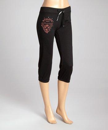 Black French Terry Capri Lounge Pants