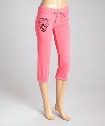 Neon Fuchsia French Terry Capri Lounge Pants