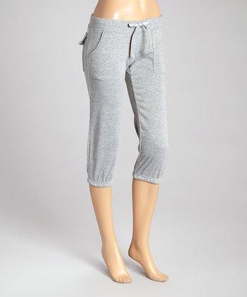 Heather Gray Fleece Capri Lounge Pants