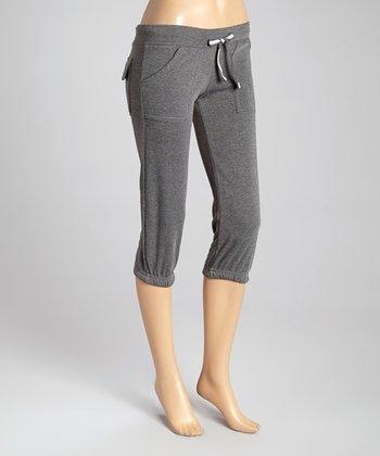 Charcoal Fleece Capri Lounge Pants