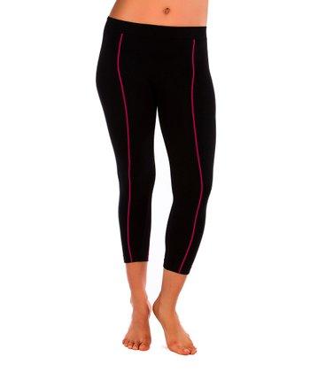 Just One Black & Pink Pipe Leggings