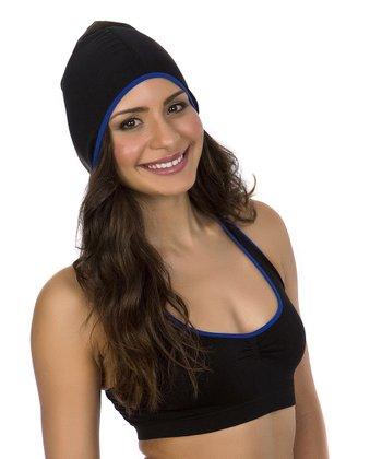 Just One Black & Blue Trim Seamless Hooded Sports Bra