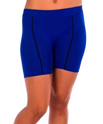 Just One Blue & Black Pipe Bike Shorts