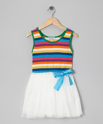 White & Aqua Stripe Chiffon Dress - Toddler & Girls