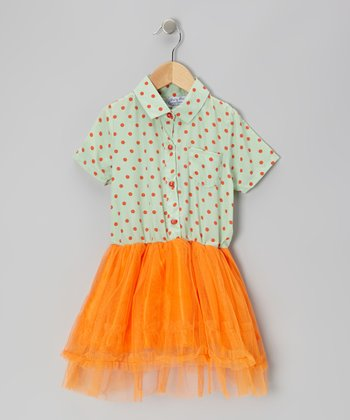 Green Polka Dot & Orange Chiffon Dress - Toddler & Girls