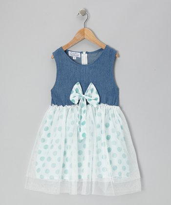 Denim & Green Polka Dot Chiffon Dress - Toddler & Girls