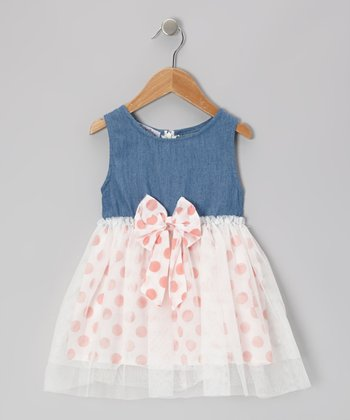 Denim & Orange Polka Dot Chiffon Dress - Toddler & Girls