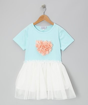 Blue & White Heart Chiffon Dress - Toddler & Girls