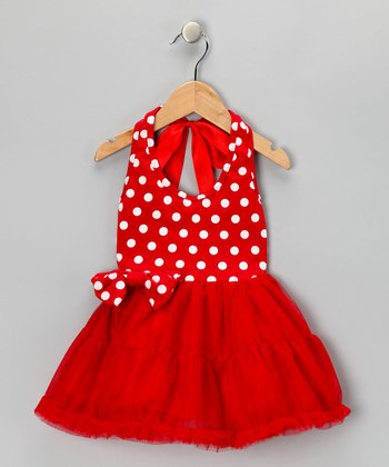 Red Polka Dot Halter Dress - Toddler & Girls