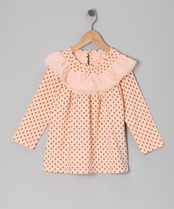 Peach Ruffle Collar Swing Dress - Toddler & Girls