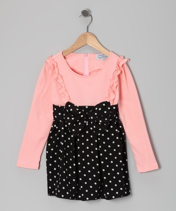 Pink & Black Polka Dot Babydoll Dress - Toddler & Girls
