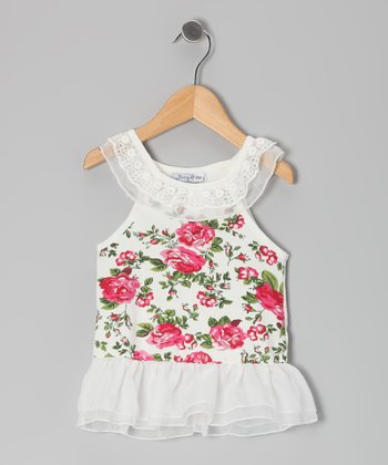 White Rose Drop-Waist Yoke Dress - Infant